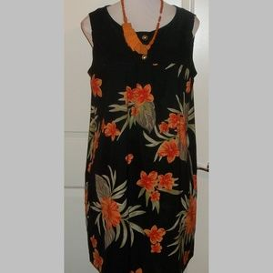 Hawaiian floral print stretch blend dress EUC